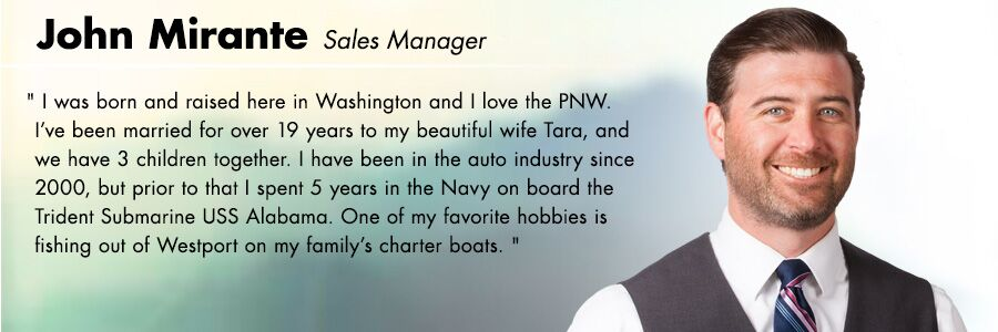 John Mirante, Sales Manager at Carter Volkswagen in Seattle, WA