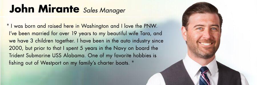 John Mirante, Sales Manager at Carter Volkswagen in Seattle, WA