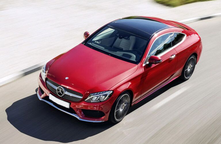 Red 2017 Mercedes-Benz C-Class Coupe with panoramic Roof