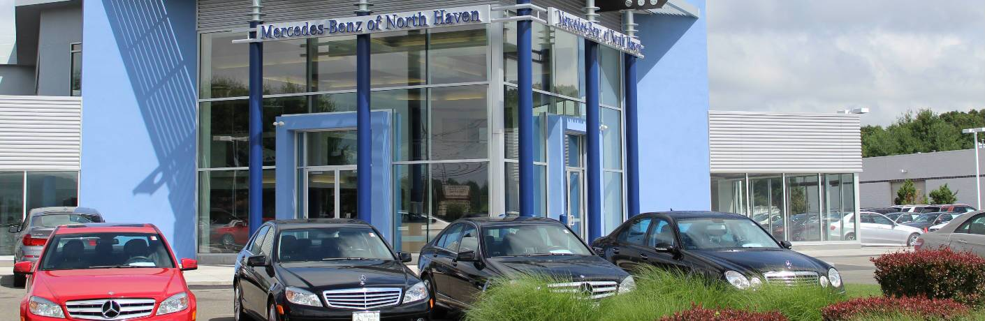 Mercedes-Benz Models in front of Mercedes-Benz of North Haven Dealership