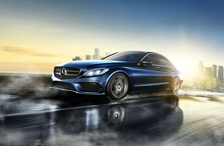 Blue 2016 Mercedes-Benz C-Class Front and Side Exterior