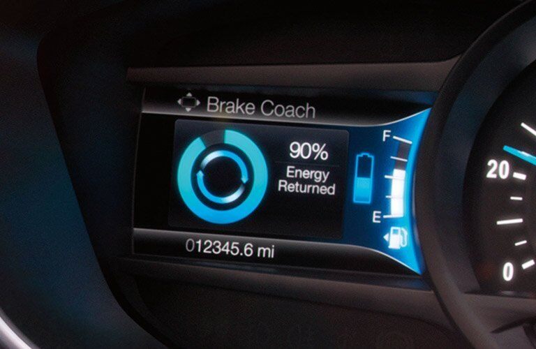 2017 Ford Fusion Hybrid front interior regenerative braking display