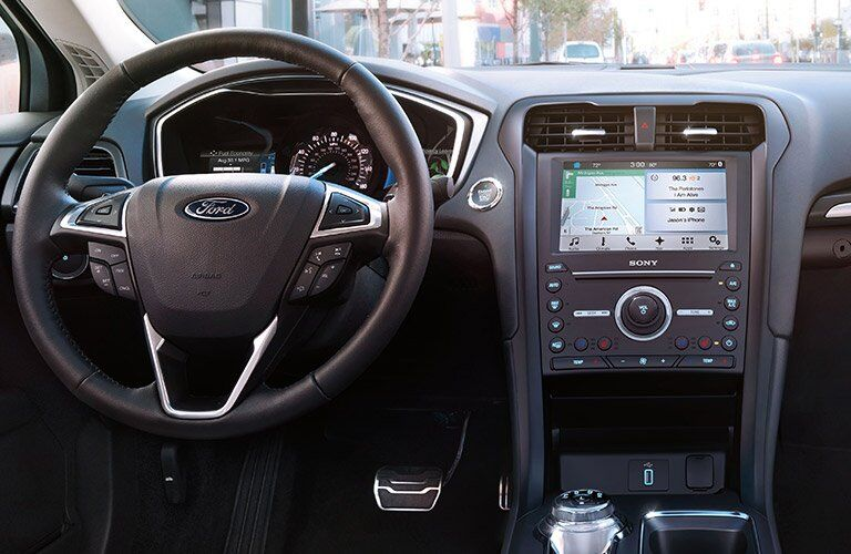 2017 Ford Fusion Hybrid front interior driver dash and display audio