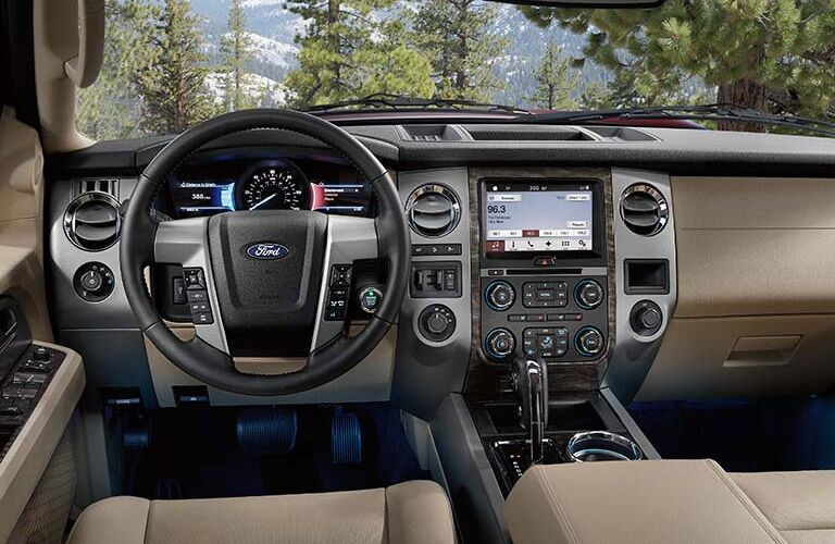 The interior of the 2016 Ford Expedition Tampa FL is sophisticated and smart.