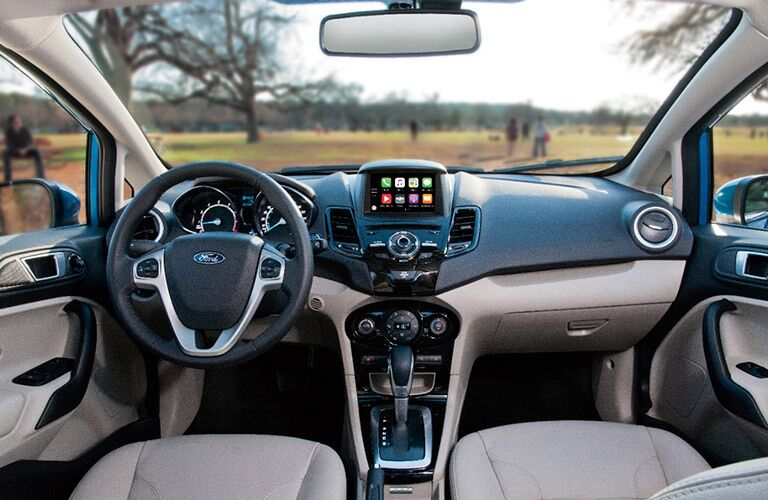 2017 Ford Fiesta dash with steering wheel and center console