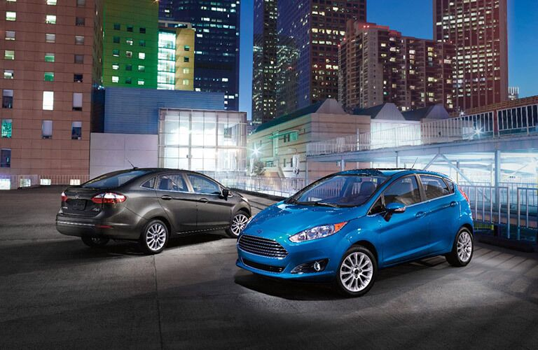 2017 Ford Fiesta sedan and hatchback side by side