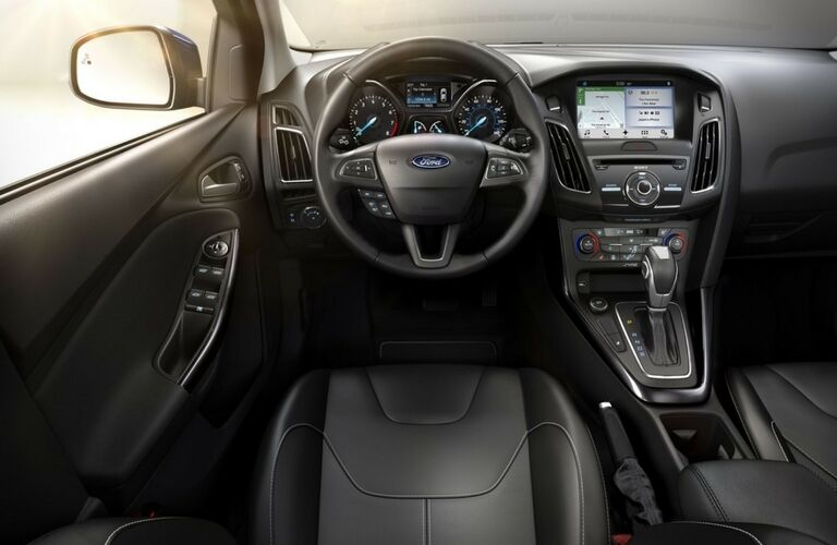 2017 Ford Focus interior steering wheel and infotainment system