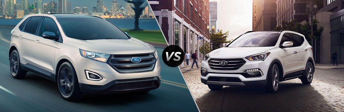 2018 Ford Edge next to the 2018 Hyundai Santa Fe