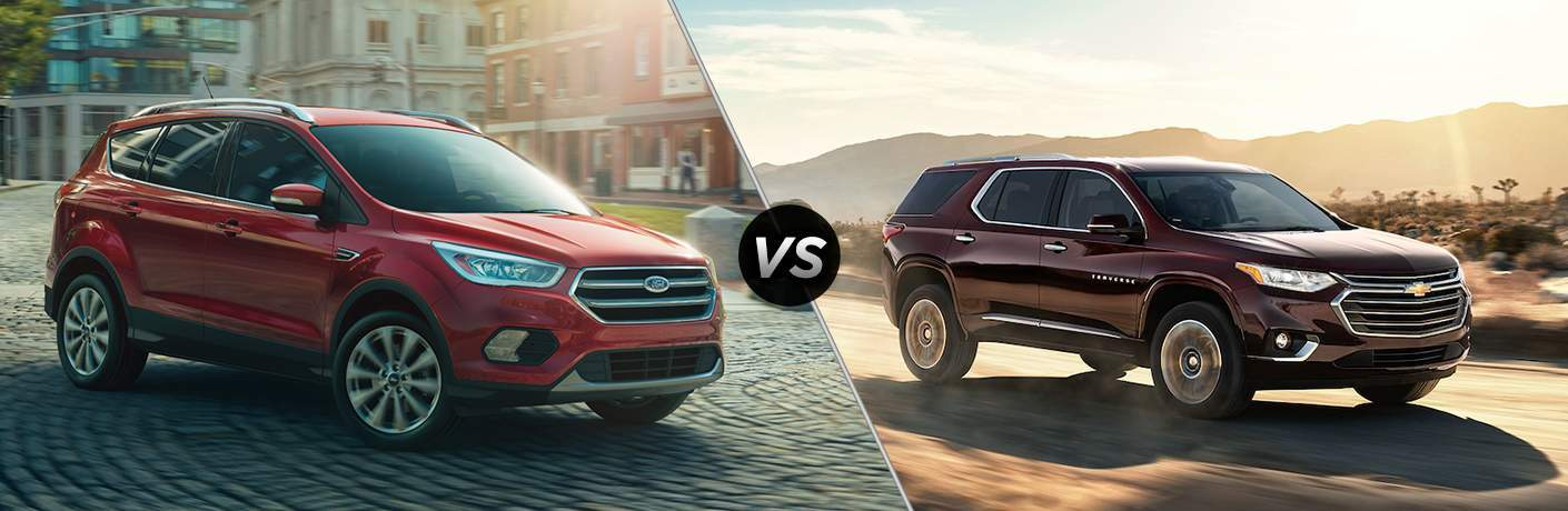 2018 ford escape and 2018 chevy traverse in split screen image