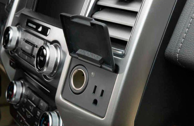 close up of the charging ports in a 2018 Ford F-150