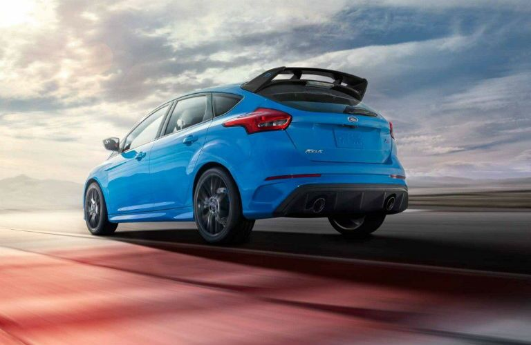 rear view of a blue 2018 Ford Focus RS