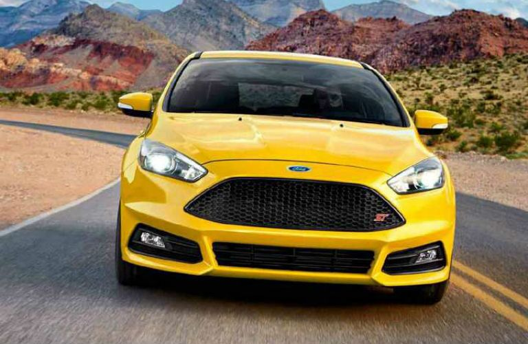 front view of a yellow 2018 Ford Focus ST