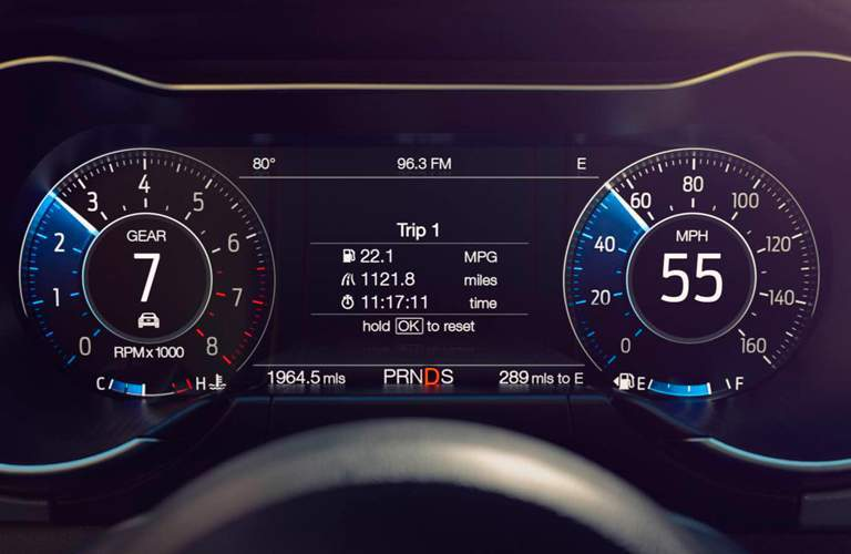 driver information display of a 2018 Ford Mustang