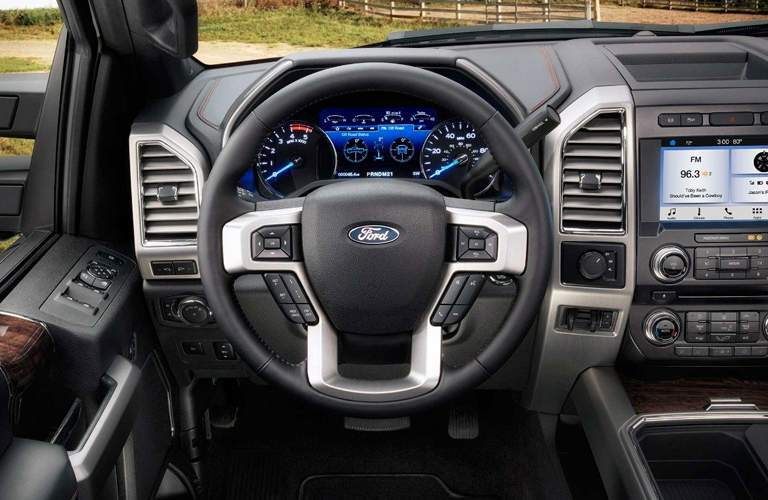 driver dash and infotainment system of a 2018 Ford Super Duty