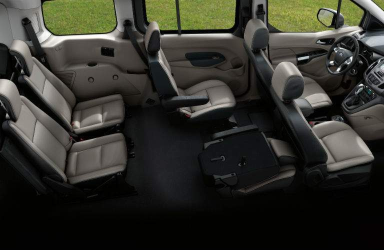wide angle view of the full interior and passenger space of a 2018 Ford Transit Connect Passenger Wagon