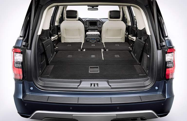 rear cargo area of a 2018 Ford Expedition MAX with all seats folded down