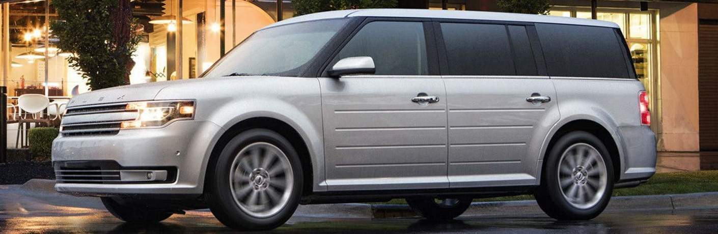 side view of a silver used 2019 Ford Flex