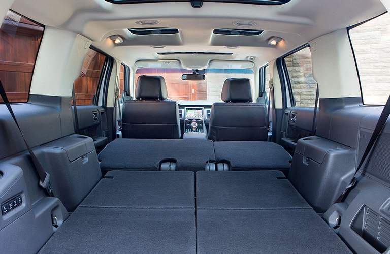 rear cargo area of a used 2019 Ford Flex with all seats down