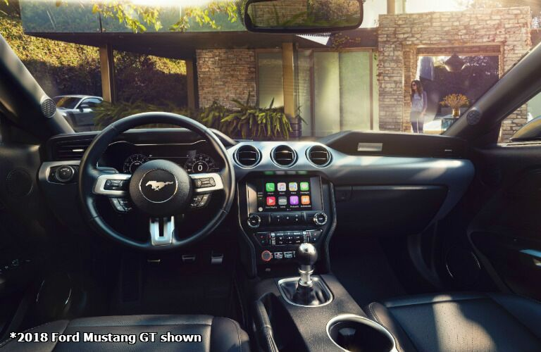 2018 Ford Mustang GT interior with steering wheel and dash