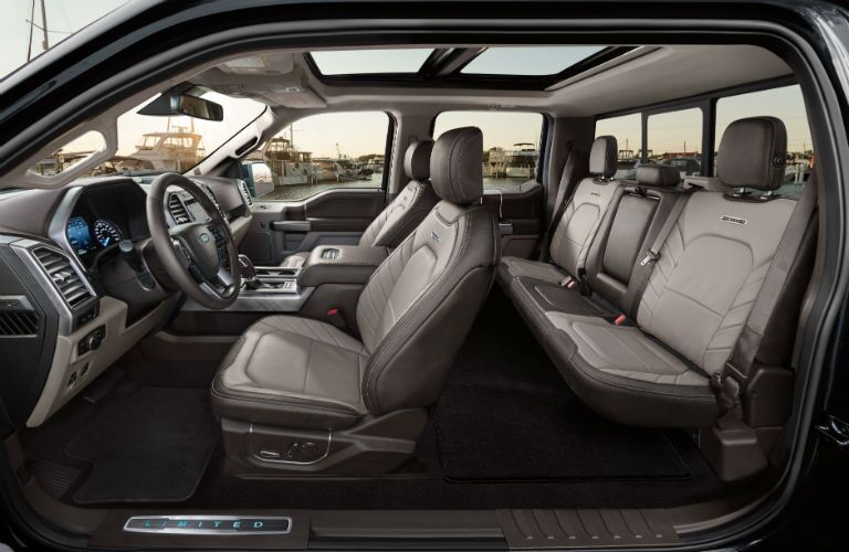 side view of the full interior of a 2019 Ford F-150 Limited