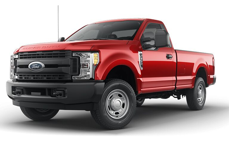 side view of a red 2019 Ford F-350 Super Duty