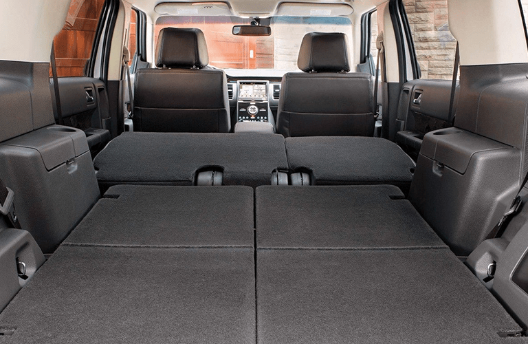 rear cargo area in a 2019 Ford Flex with all seats down