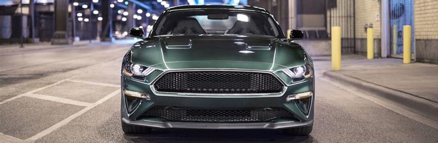 front view of a green 2019 Ford Mustang Bullitt