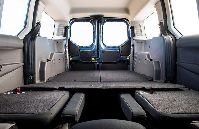 2019 Ford Transit Connect Wagon with seats folded down showing large cargo area