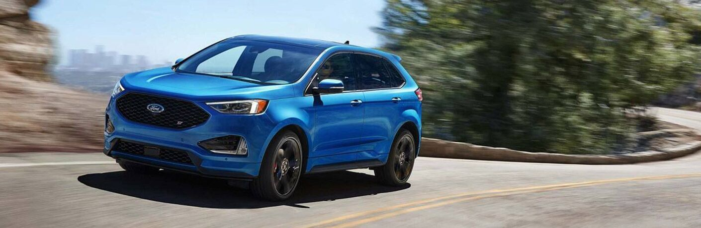 2020 Ford Edge ST in blue on the road