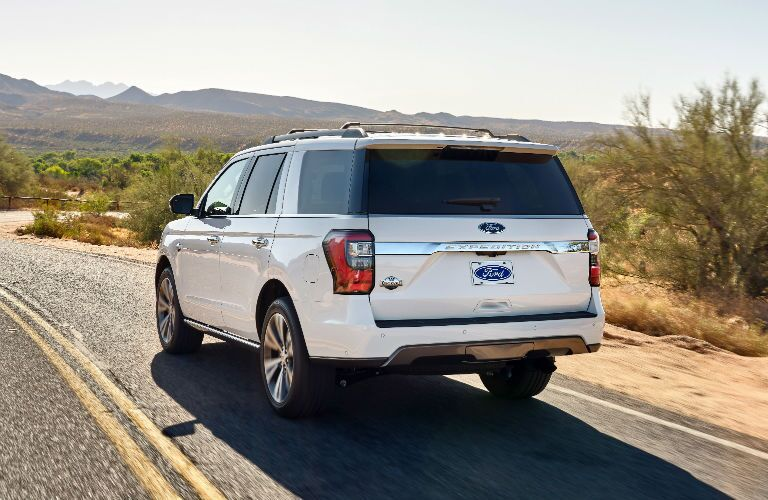 rear view of a white 2020 Ford Expedition