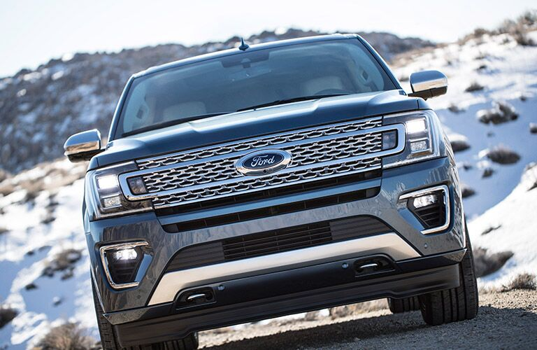 front view of a blue 2020 Ford Expedition MAX