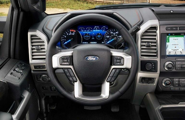 steering wheel in a 2020 Ford F-450 Super Duty