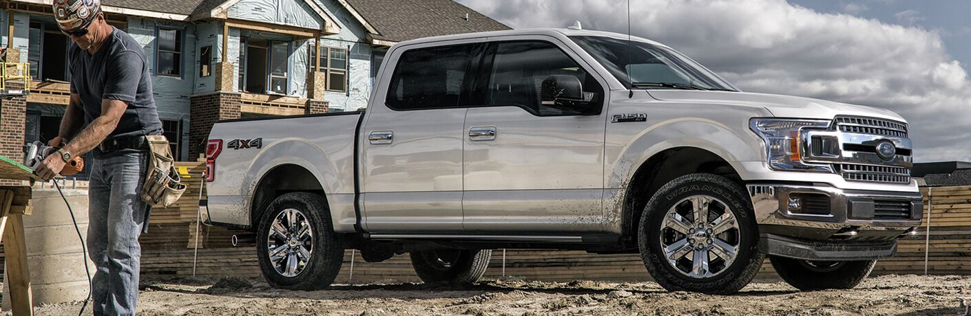 side view of a white 2020 Ford F-150