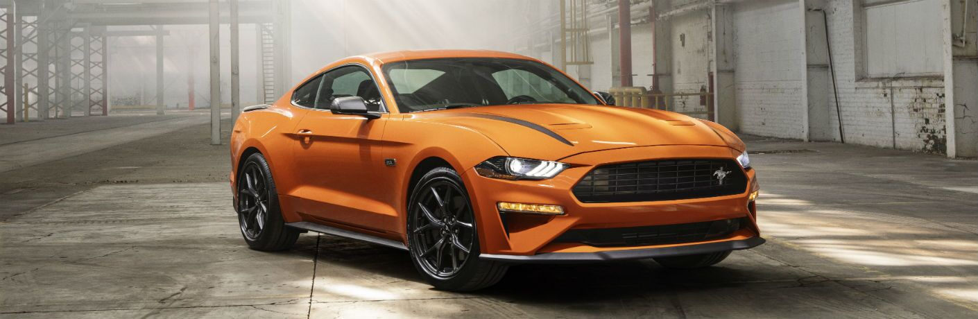 front view of a yellow 2020 Ford Mustang
