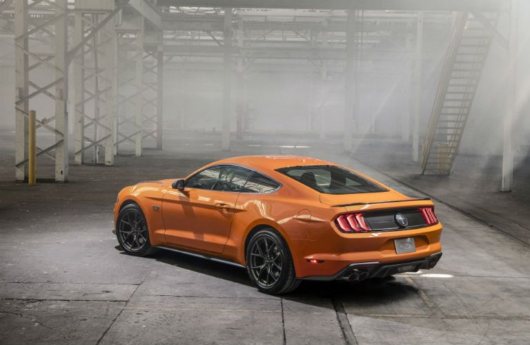 side view of a yellow 2020 Ford Mustang