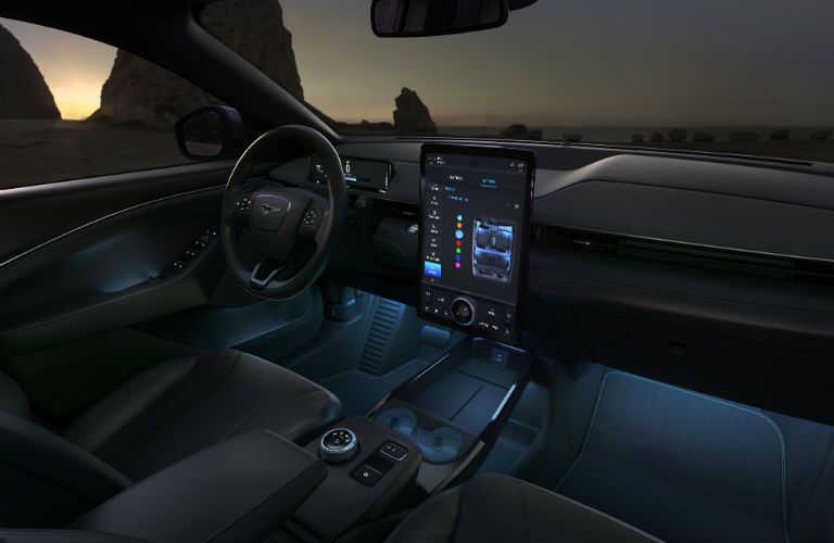 front interior of a 2020 Ford Mustang Mach-E SUV