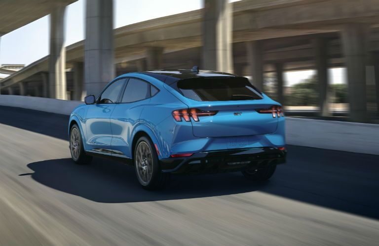rear view of a blue 2020 Ford Mustang Mach-E SUV