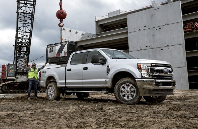 side view of a white 2020 Ford Super Duty