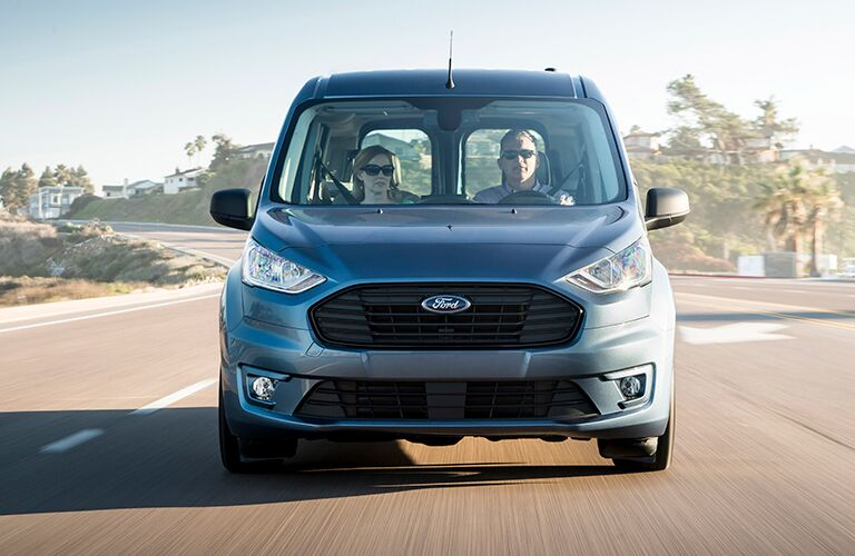 front view of a blue 2020 Ford Transit Connect Passenger Wagon