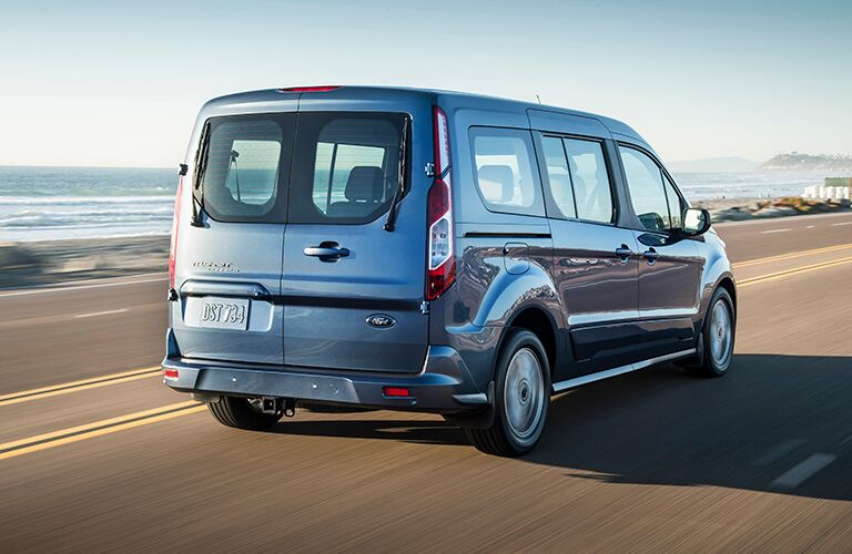 rear view of a blue 2020 Ford Transit Connect Passenger Wagon