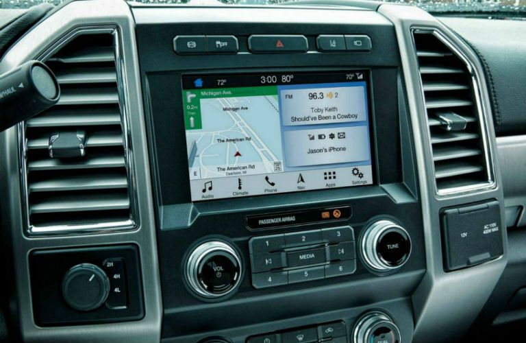 infotainment system in a 2020 Ford F-350 Super Duty