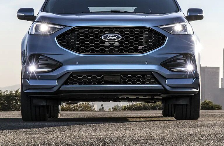 front view of a blue 2021 Ford Edge