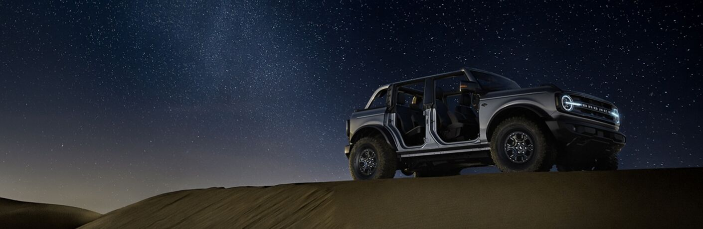 side view of a silver 2021 Ford Bronco