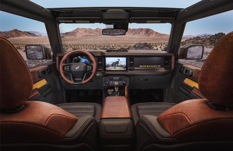 front interior of a 2021 Ford Bronco