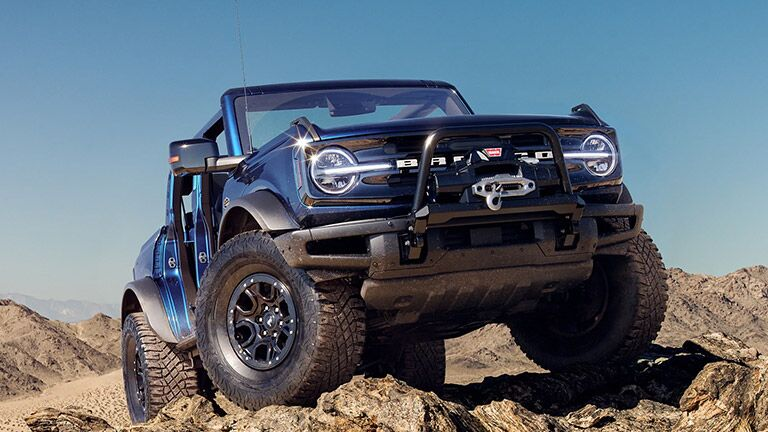front view of a blue 2021 Ford Bronco