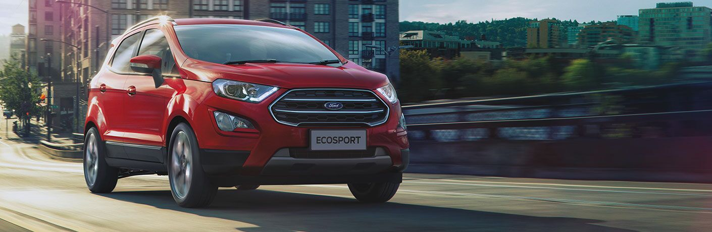front view of a red 2021 Ford EcoSport
