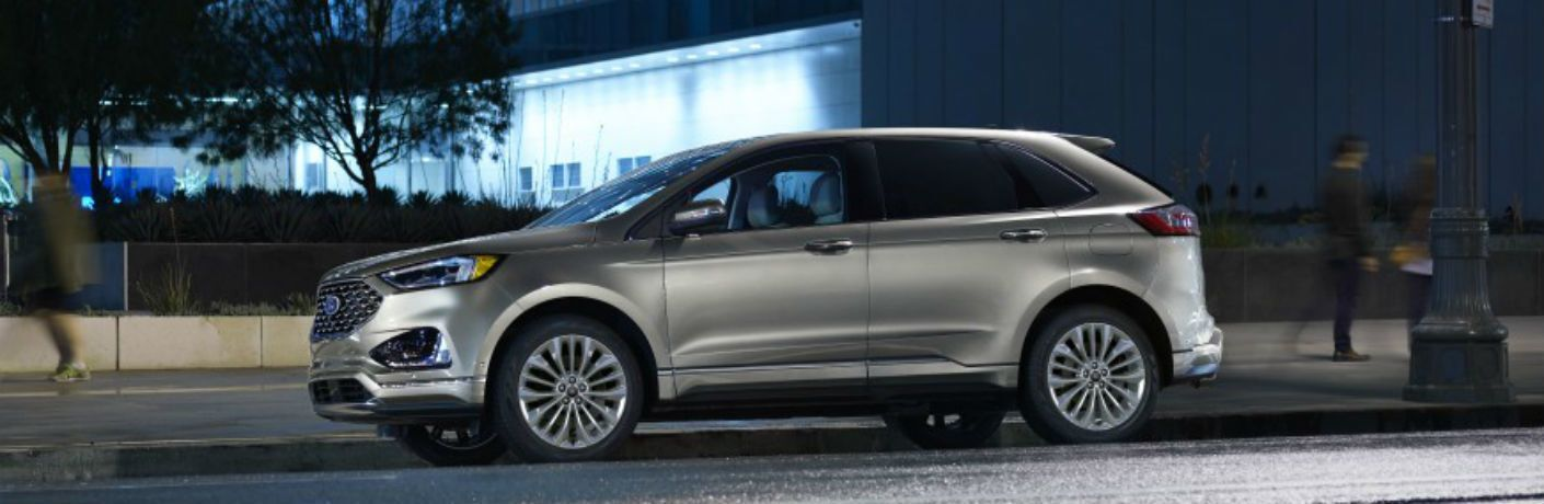 side view of a silver 2021 Ford Edge ST