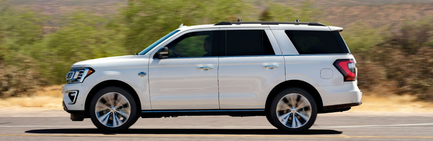 side view of a white 2021 Ford Expedition King Ranch