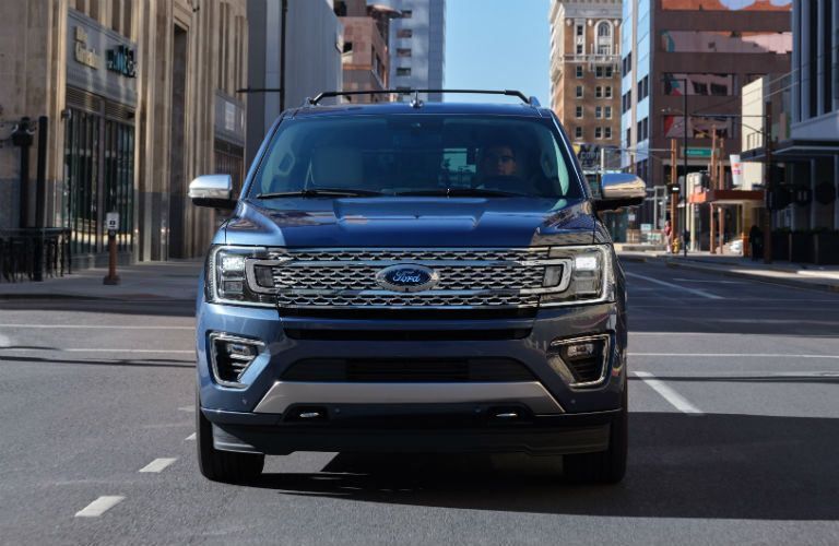 front view of a blue 2021 Ford Expedition Platinum