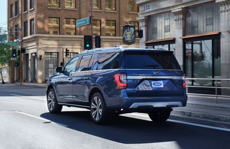 rear view of a blue 2021 Ford Expedition Platinum